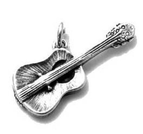 a851ec244 Acoustic Guitar Charm in 3D. Sterling Silver - 925Express
