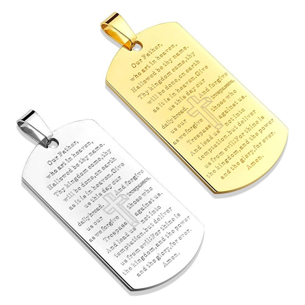 925 Sterling Silver Lords Prayer Our Father Dog Tag Style Necklace