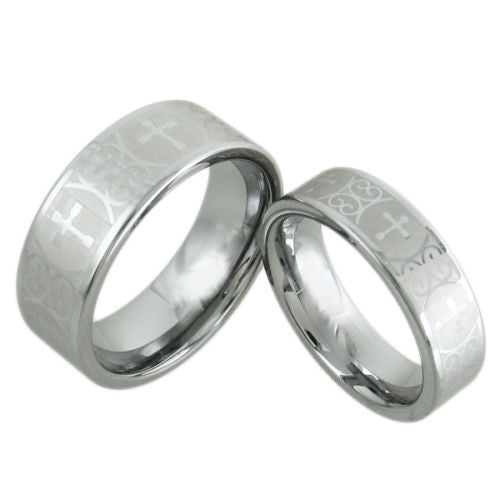 Charming Silver Tungsten Wedding Band With Laser Engraved Crosses Couple Ring