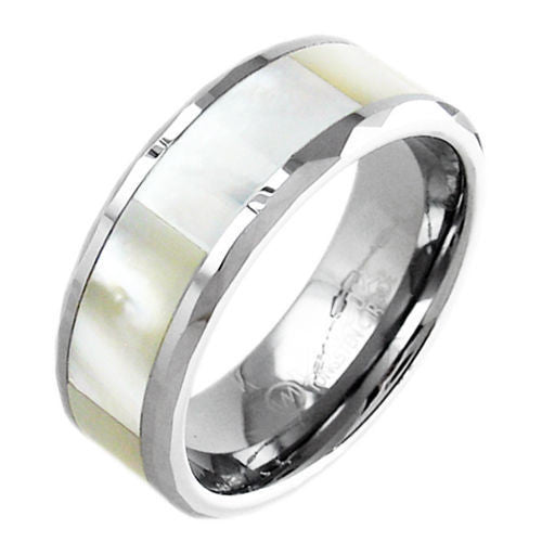 Stunning Mother of Pearl Inlay Tungsten Ring. Wholesale - 925Express