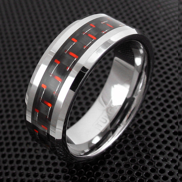 Red Black Carbon Fiber Ring Wholesale Tungsten Rings 925Express