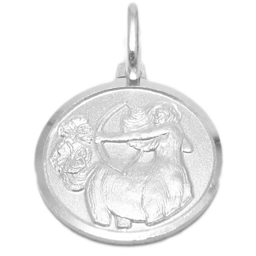 Sterling Silver Small Zodiac Sign On Medallion Pendant
