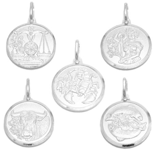 Sterling silver small zodiac sign on medallion pendant charm small zodiac sign on medallion pendant charm different zodiacs wholesale 925 sterling silver pendant aloadofball Image collections