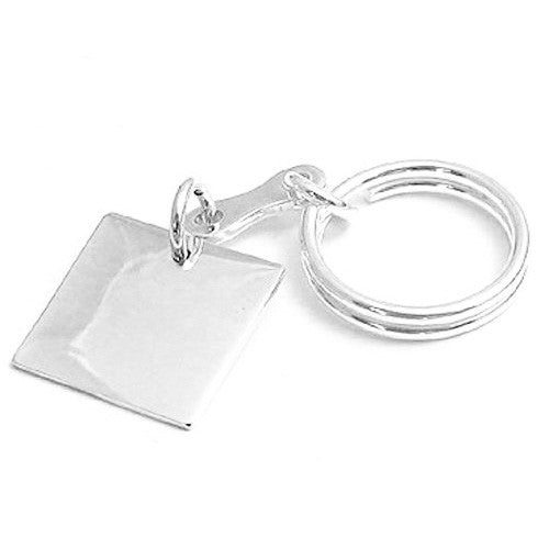 Sterling Silver Keychain W Engravable Square Tag