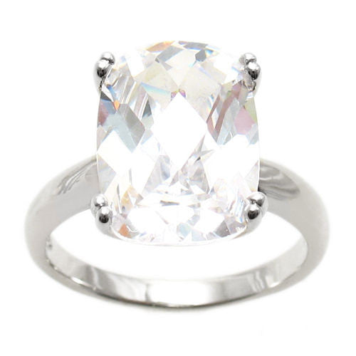 31ba0a300bc75 Spectacular Ring with Clear Rectangular 10x14mm CZ Solitaire in Sterling  Silver.