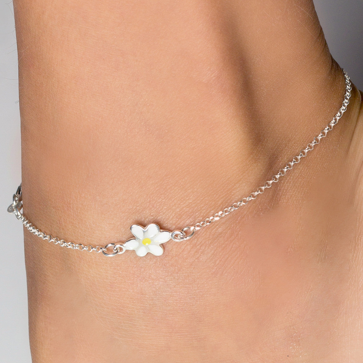 inches pin white bracelet ankle link yellow mm gold anklet figaro chain