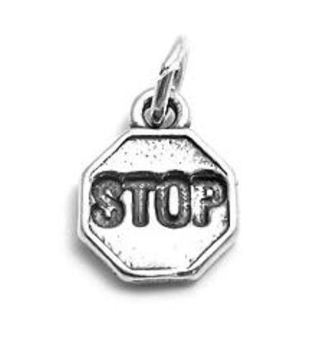 STERLING SILVER STOP SIGN CHARM OR PENDANT