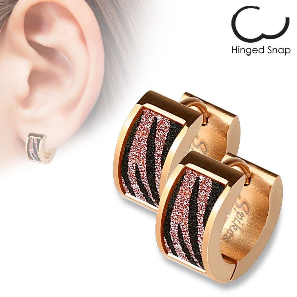 Red & Black Zebra Stripes On Rose Gold Huggie Earrings  Wholesale 316l  Stainless Steel Jewelry