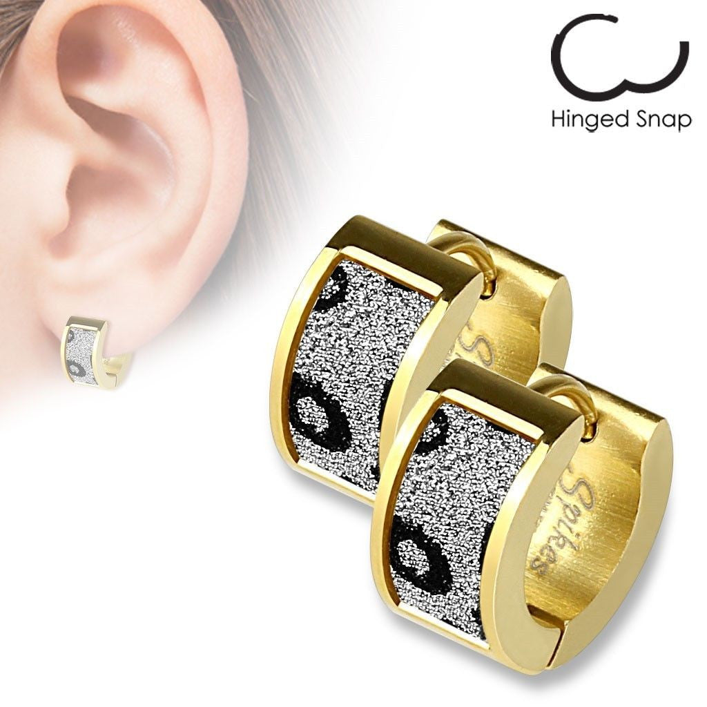 Black Leopard Spotted Sand Sparkle Band Gold Huggie Earrings  Wholesale  316l Stainless Steel Jewelry