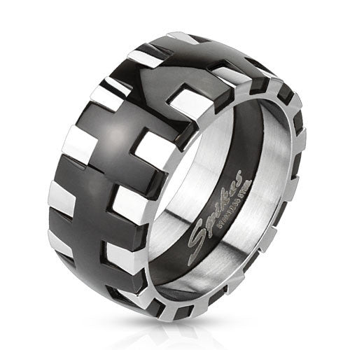 two tone black and mirror polish stainless steel interlocking gear ring wholesale - Gear Wedding Ring