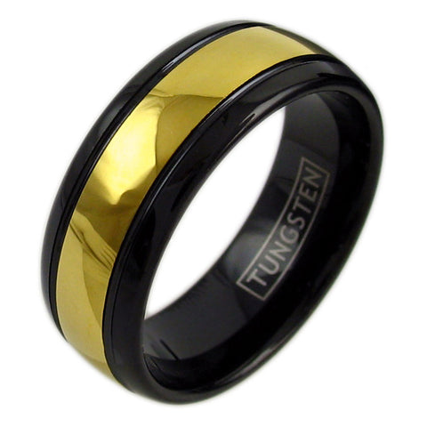 1f701b67b4 Two-tone black tungsten ring with 14K ion plated band | Wholesale Jewelry |  Main