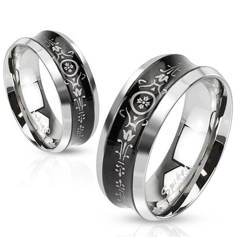 Mirror Polished Ring With Black Concave Floral Pattern Engraved Band
