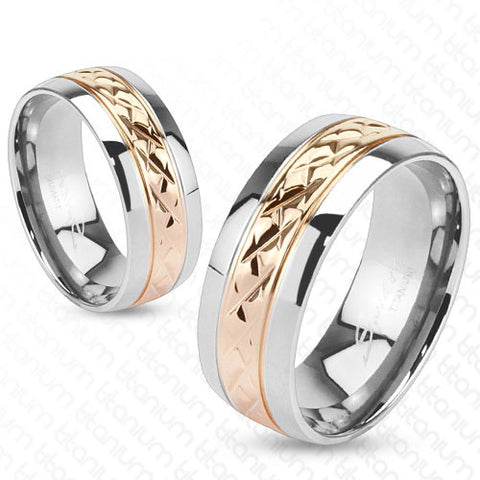 Two Tone Mirror Polished Titanium Ring With Rose Gold Crosshatched Band |  Wholesale Titanium Rings