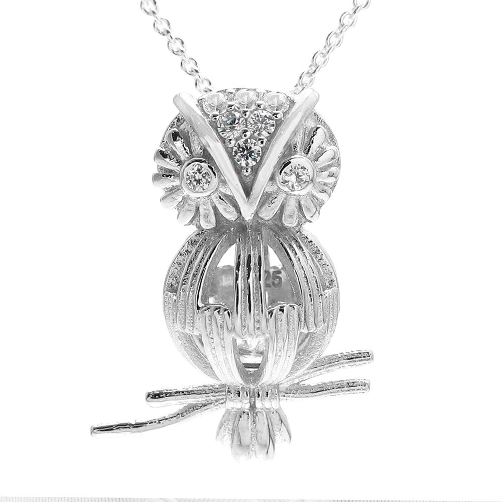 Sterling silver pearl cages 925express wise sterling silver owl on branch pearl cage pendant wholesale 925 sterling silver jewelry aloadofball Gallery