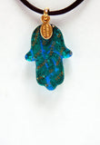 Murano Glass Hamsa in Light Blue and Gold - Venice Murano Designs