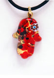 Murano Glass Hamsa in Red with Millefiori - Venice Murano Designs