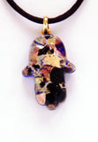 Murano Glass Hamsa in Gold and Black - Venice Murano Designs