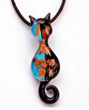 Murano Glass Blue Cat Pendant with 24 Karat Gold Leaf Design - Venice Murano Designs