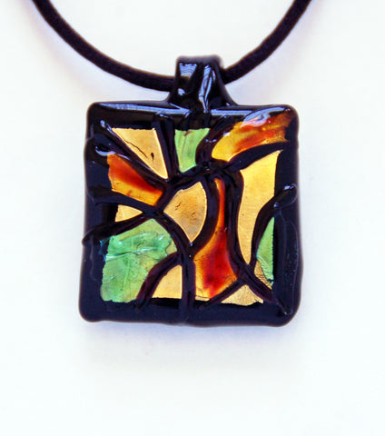 Colorful Murano Glass Square Pendant - Venice Murano Designs