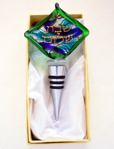 Murano Glass Wine Stopper in Green and Blue - Venice Murano Designs