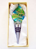 Murano Glass Wine Stopper in Blue and Green - Venice Murano Designs