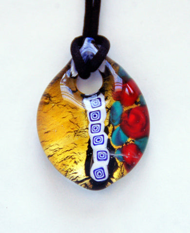 Teardrop Pendant with Roses and Gold Leaf - Venice Murano Designs
