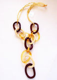 Brown, Beige and Gold Catena Chain Necklace - Venice Murano Designs