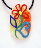 Colorful Flower Pendant on Beige - Venice Murano Designs