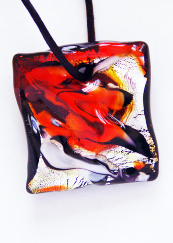 Wild Orange and Black Murano Square Pendant - Venice Murano Designs