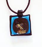 Blue Square Pendant with Swirl - Venice Murano Designs
