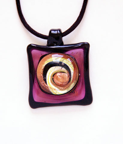 Purple Square Pendant with Swirl - Venice Murano Designs