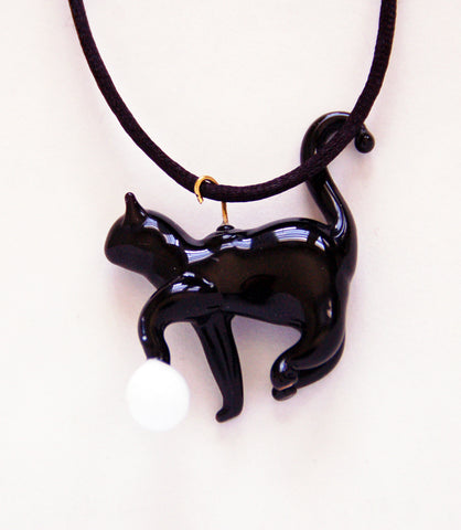 Cat with Ball Pendant - Venice Murano Designs