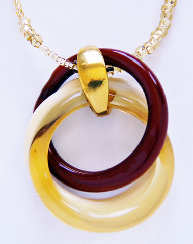 Brown, Beige, and Gold Cerchi Circles Necklace with Gold Chain - Venice Murano Designs