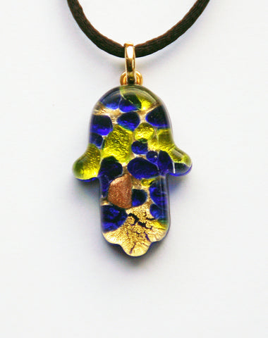 Murano Glass Hamsa in Yellow and Blue - Venice Murano Designs