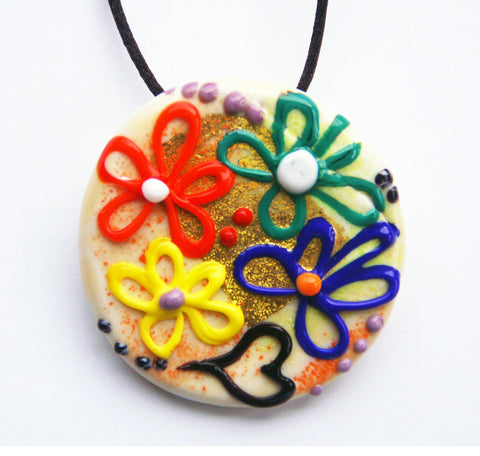Multicolor Flower Pendant - Venice Murano Designs