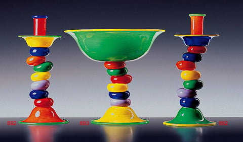 Handmade Murano Glass Cup and Candlesticks - Venice Murano Designs
