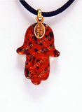 Murano Glass Hamsa in Gold with Blue and Pink Millefiori - Venice Murano Designs