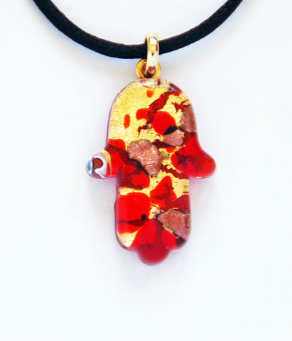 Murano Glass Hamsa in Red and Gold - Venice Murano Designs