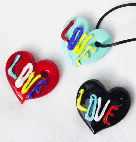 "Murano Glass ""Love"" Pendants - Venice Murano Designs"