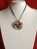 Murano Glass Rose Pendant with Silver Leaf - Venice Murano Designs