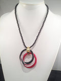 Red, Black, and Clear Cerchi Circles Necklace - Venice Murano Designs