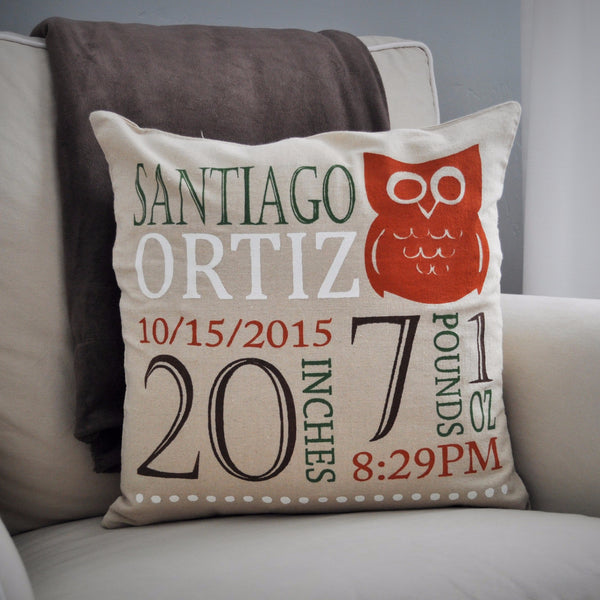 Owl Theme - Personalized birth pillow cover - Our Traditions Boutique - 1