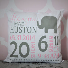 Elephant Theme - Personalized birth pillow cover - Our Traditions Boutique - 1