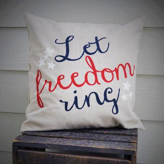 Let Freedom Ring Pillow Cover - Patriotic Pillow - Our Traditions Boutique - 3