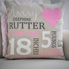 Nursery Heart themed Personalized Pillow Cover - Baby Stats Pillow - Our Traditions Boutique - 3