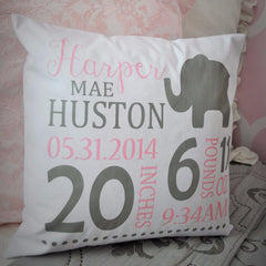 Elephant Theme - Personalized birth pillow cover - Our Traditions Boutique - 2