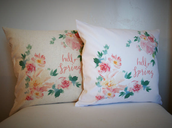 Watercolor Hello Spring Pillow Cover - Our Traditions Boutique