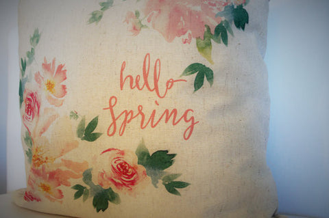 Watercolor Hello Spring Pillow Cover - Our Traditions Boutique - 2