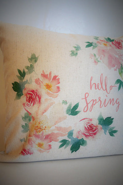 Watercolor Hello Spring Pillow Cover - Our Traditions Boutique - 3