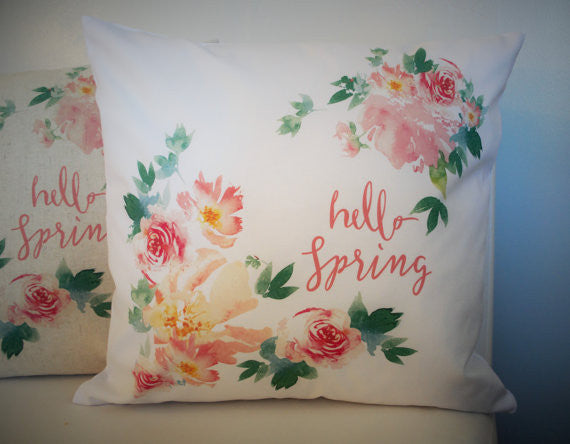 Watercolor Hello Spring Pillow Cover - Our Traditions Boutique - 5